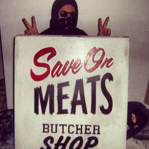 Save on Meats sign stolen by anarchist group