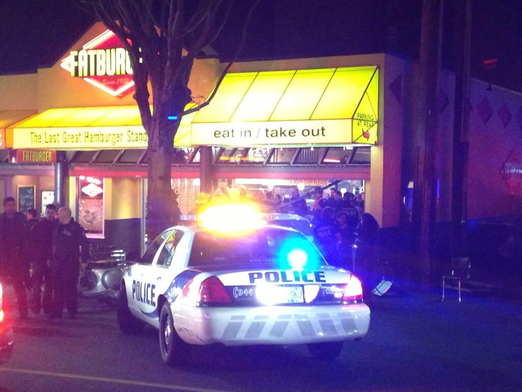 Car drove into Fatburger on Denman