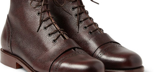 Grenson Foot The Coacher Pebble-grain Leather Boots