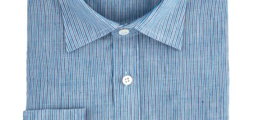 Gieves and Hawkes Blue Striped Cotton Linen Shirt